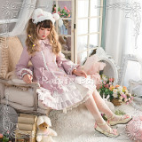 Rotate Ballet -Snow Kiss of Nightfall- Warm Wool Lolita Long Coat with Fur Collar and Cape for Winter
