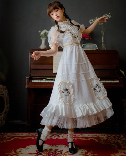 Chestnut -Summer Dream- Short Sleeve Long Classic Lolita OP One Piece Dress with Embroidery