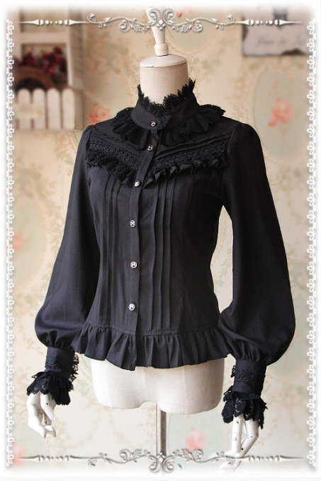 Infanta -Classic Thick Chiffon Long Sleeve Blouse with Stand Collar