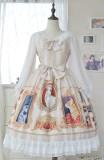 Doris Night -Cat Painting- Sweet Long Sleeve Cat Themed Lolita OP One Piece Dress