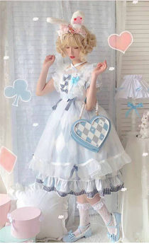 XHL Lolita -Alice- Sweet Heart Shaped Lolita Crossbody Handbag