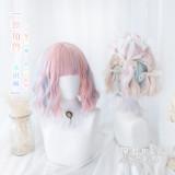 Heng Ji -Sweet 33cm Short Curly Wavy Pastel Rainbow Lolita Wig
