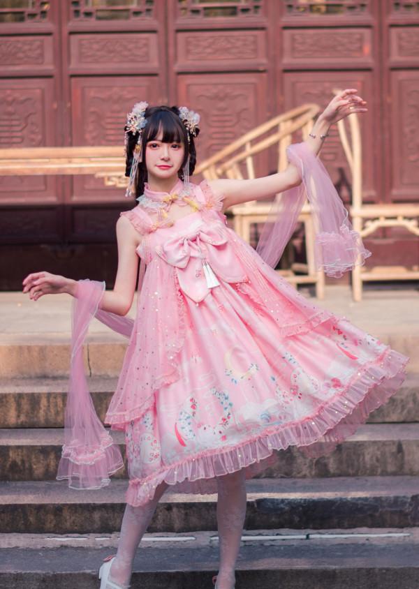 CYLolita -Moon Rabbit- High Waist Qi Lolita Jumper Skirt Dress