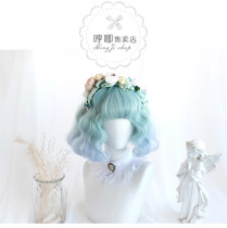 Hengji - 28cm Short Curly Wavy Mint and Blue Colorful Lolita Wig