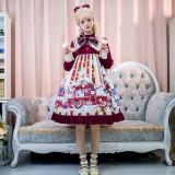 Cat Can -Popcorn- High Waist Christmas Lolita One Piece Dress