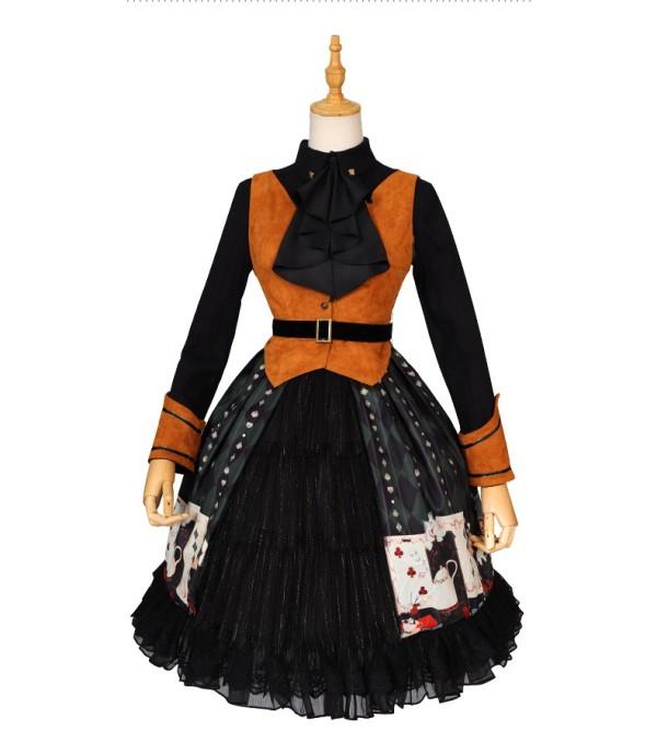 Poker Punk Lolita One Piece Dress(Version II)
