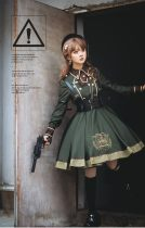 Pinky Winky -Army- Ouji Military Lolita OP with PU Corset,Detachable Tie and Accessories