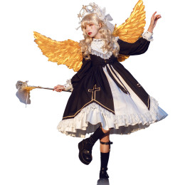 CastleToo -The God Come in the World- High Waist Gothic Lolita OP Dress