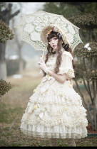 Rose Garden Gorgeous Princess Lolita OP Dress and Bonnet Set
