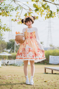 Chemical Romance -The Baguelle- Sweet Normal Waist Lolita JSK and Bread Hairclip Set