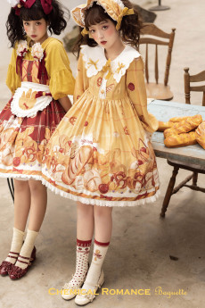 Chemical Romance -The Baguelle- Sweet High Waist Lolita OP Dress and Bread Hairclip Set