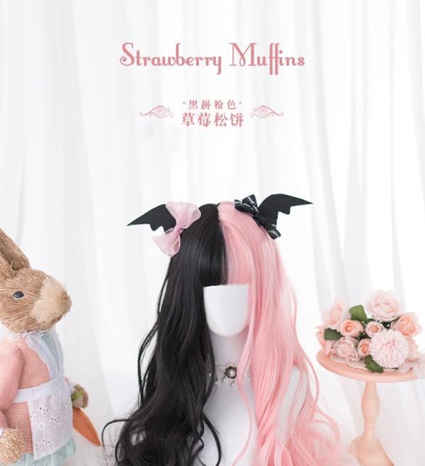 Alice Garden -60cm Long Black and Pink Curly Wavy Lolita Wig