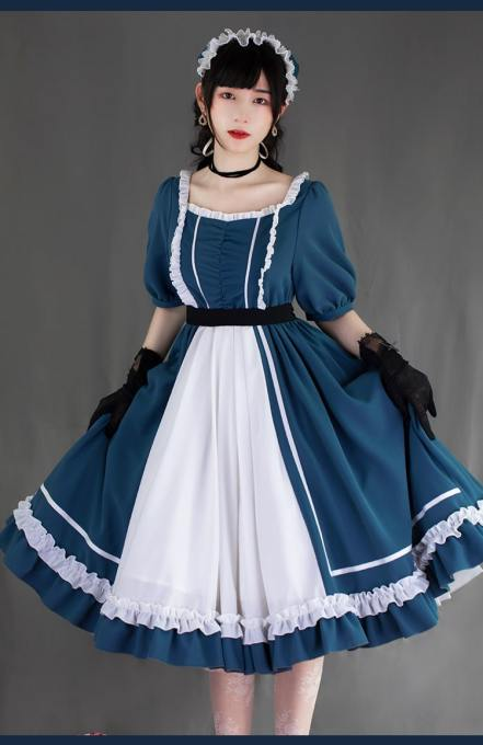 Withpuji -Whisper of the Heart- Casual Short Sleeves Lolita OP Dress for Summer