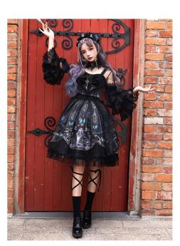 Yinluofu -Dead Butterfly Allegretto- Gothic Lolita Full Set