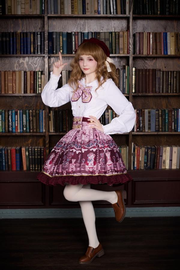Neverland -Chocolate Bears- Sweet Lolita Skirt