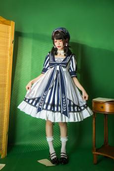 Lingxi -Candy Academy- Sweet Sailor Embroidery High Waist Lolita OP Dress