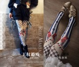 Red Maria -Chessboard Printed Lolita Tights for Spring and Autumn