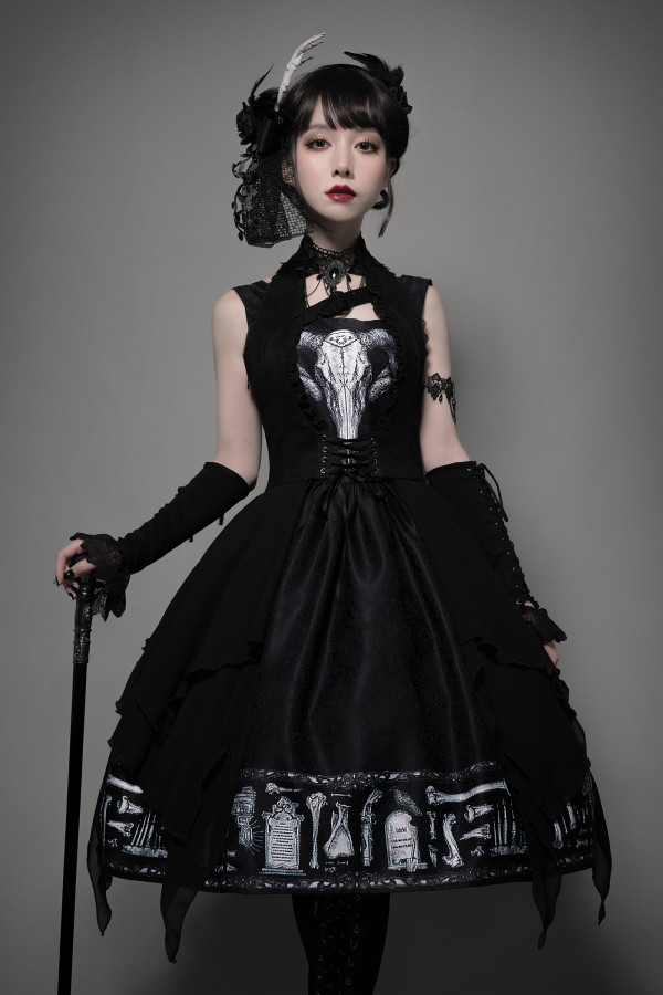 Foxtrot Lolita -The Tomb of Gabriel- Halloween Gothic Lolita JSK and Long Vest Set
