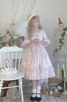 Labeau -Isabella- Classic Casual Puffy Sleeves Lolita OP Dress(Version I)