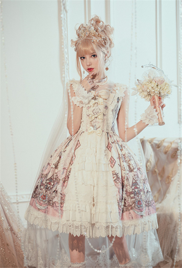 Milu Forest -Swan Wedding- Sweet Lolita JSK with Shoulder Veil