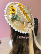 Alice Girl -Sunflower- Lolita Straw Hat and Triangle Headwear