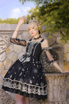Milu Orig -Star Trails- Gothic Embroidery Lolita JSK and Arm Sleeves