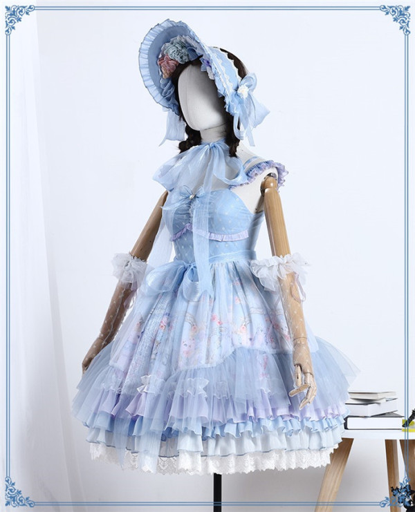 Yinluofu -Violin Cat- Lolita Bonnet, Gloves and Overskirt