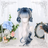 Dalao -Ice Melody- Curly Blue and White Long Lolita Wig