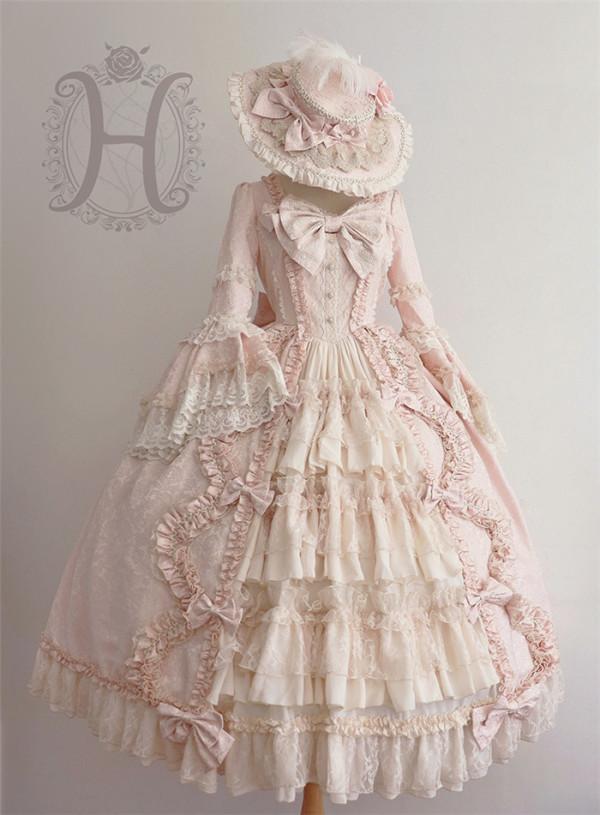 Henrietta -The Romantic- Flare Long Sleeve Vintage Rococo Lolita OP One Piece Dress