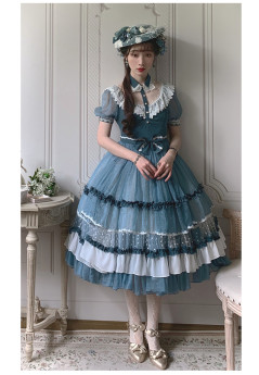 Cat Romance -Fog in the Forest- Classic Vintage Lolita OP Dress and Cape Set