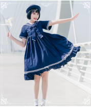 Eieyomi - Sailor Casual Lolita High Waist OP Dress