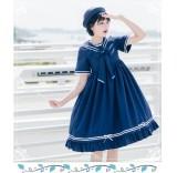 Eieyomi - Sailor Casual Lolita High Waist OP Dress