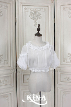HinanaQueena -Pearl- High Waist Lace Lolita Blouse for Summer
