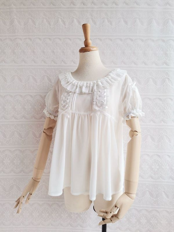 Yilia - H Shape Chiffon and Lace Lolita Bloue for Summer and Spring