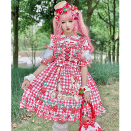 Diamond Honey -Strawberry Picnic- Sweet Lolita JSK and Blouse