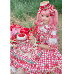 Diamond Honey -Strawberry Picnic- Lolita Headbow and Wristcuffs