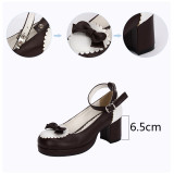 Angelic Imprint - Sweet Round Toe Chunky Heel Lolita Shoes with Bow