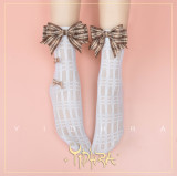 Yidhra - Over Ankle Loliita Net Socks with Checked Bow for Summer
