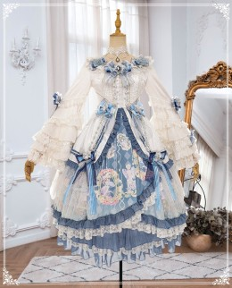 Yinluofu - Fantastic Classic Princess Lolita OP Dress and Accessories Set