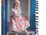 Strawberry and Cat Sweet Lolita OP Dress