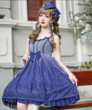 Brocade Garden -Summer Starry Sky- Sweet Lolita JSK and Hairclip Set