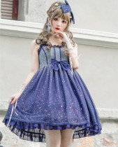 Brocade Garden -Summer Starry Sky- Sweet Lolita JSK and Hairclip Set