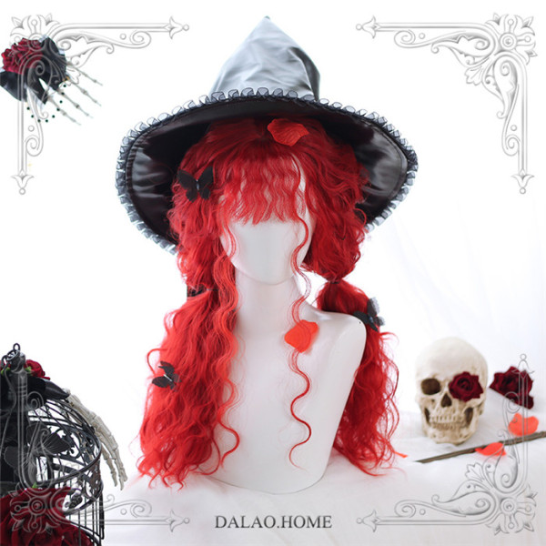 Dalao -The Red Witch- Halloween Gothic Long Curly Wavy Lolita Wig