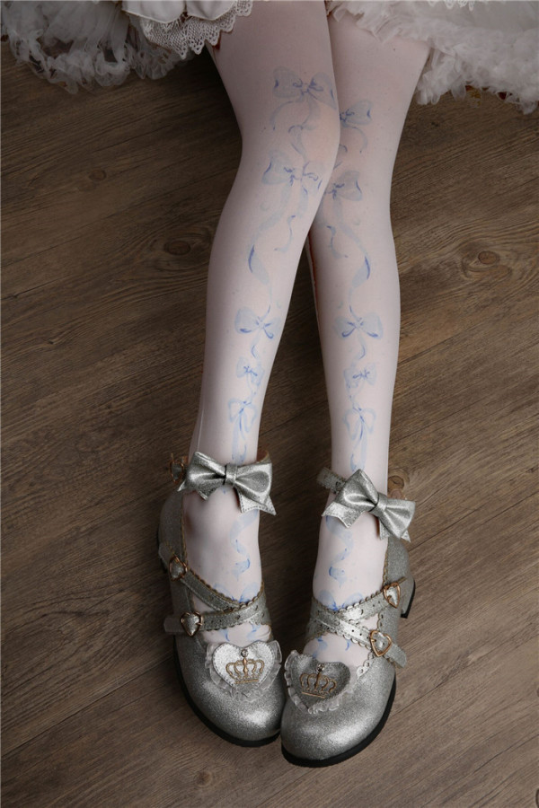 Red Maria - Bow Printed Lolita Tights for Spring and Autumn