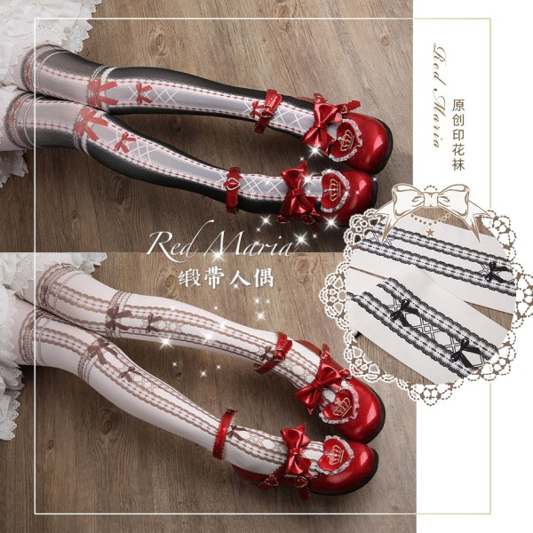 Red Maria -Ribbon Doll- Lolita Tights for Spring and Autumn