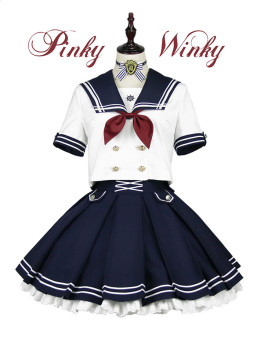 PinkyWinky -Deep Blue- Sailor Lolita Top Wear and Skirt Set