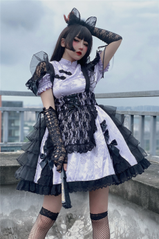 Diamond Honey -Black Cat- Qi Lolita OP and Apron