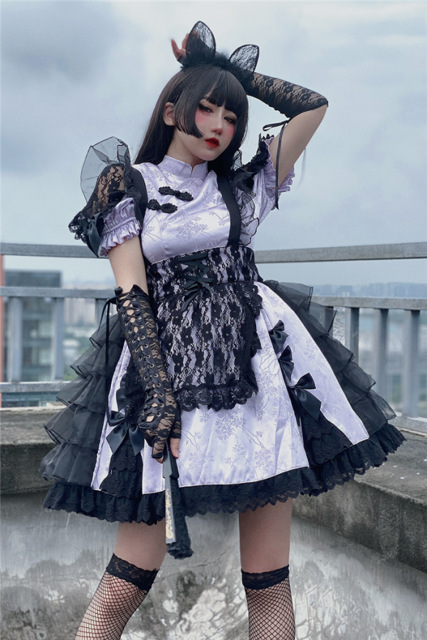 Diamond Honey -Black Cat- Qi Lolita OP and Apron