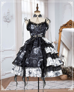 The Vampire Diaries Haloween Gothic Lolita JSK Full Set Version II