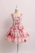 Alice Girl -Cream Strawberry- Sweet Lolita Salopettes